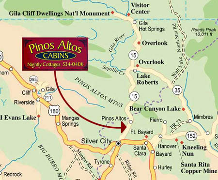 Map of Pinos Altos Cabins and Nightly Cottages, and of Grant County ...
